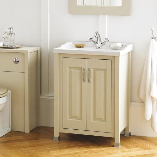 Rockingham Ivory 600mm 2 Door Cabinet & Basin - 1 Tap Hole